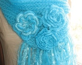 Made to order Scarf  Mohair  Knit in Turquoise with Crocheted Flower feminine Glam  OOAK