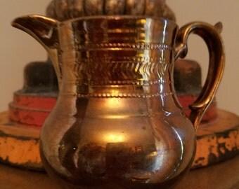 Vintage English Elegant Chevron Design Copper Lustre Pitcher Creamer Jug with Raised Relief Details