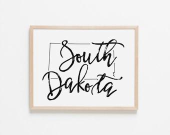 South Dakota Horizontal Nursery Art. Nursery Wall Art. Nursery Prints. South Dakota Wall Art. State Wall Art. South Dakota Nursery.