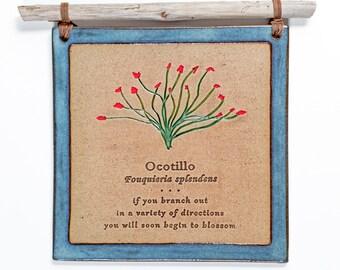 Ocotillo Tile/Handmade/Plaque/Wall Hanging/Tile/decorative tile/ceramic tile/wildflower/wall art/clay tile/ocotillo/southwestern