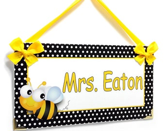 custom teacher classroom door sign - sweet bumble bee black and yellow - P288