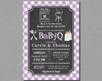 Purple Baby Q invitations baby shower girl coed couples bbq plaid Tatum BB09 Digital or Printed