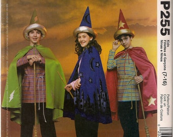 McCall's Costume Sewing Pattern P255 (aka 3324) - Boys' and Girls' Wizard Costumes (7-16)