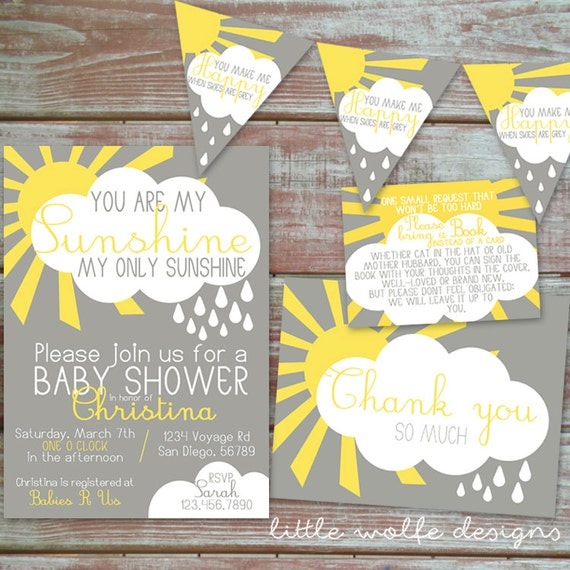 you are my sunshine baby shower invitation by littlewolfedesigns