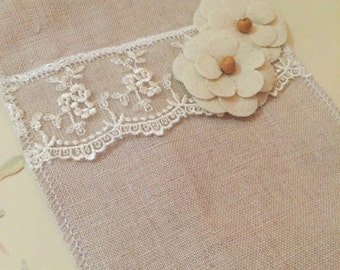 Silverware Holders 100% Linen with Lace & flowers