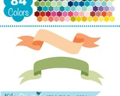 Digital Banners, Simple Colorful Banners, Rainbow Banners Clip Art, Huge Clipart Pack - Vector Banners - Instant Download