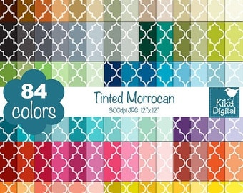 70% SALE Tinted Quatrefoil Digital Papers - Rainbow Moroccan Papers - Mosaic Tile Scrapbook Papers - Huge Paper Pack- INSTANT Download