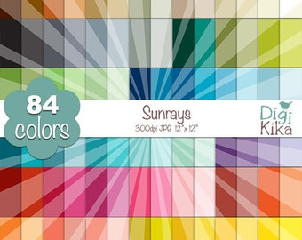 SALE Sunrays Digital Papers - Rainbow Sunburst Scrapbook Papers - Basic Color Papers - Huge Paper Pack - Instant Download