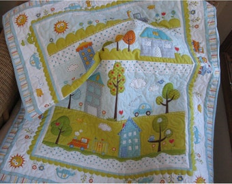 Dena Happi whole cloth quilt, blue quilt a baby boy blanket