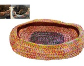 Cat Bed, Crocheted Cat Bed, Oval Cat Bed, Pink Green Yellow