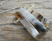 Agate Spike Necklace, Antiqued Bronze Banded Agate Crystal Jewelry, Triplets Necklace, Bar Jewelry, Choose Length, BASP1