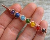 Long 7 Chakra Pendant, COPPER Wire Wrapped Chakra Wand, Rainbow Gemstone Chakras Jewelry, Yoga Inspired, Buddhist Hindu, READY To SHIP