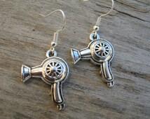 Blow Dryer Earrings, Antiqued Silver Earrings, Blowdryer Earrings, Hairdresser, Beauty Salon Earrings, Hair Dresser Gift, READY To SHIP