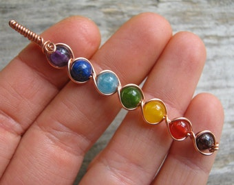 Long 7 Chakra Pendant, COPPER Wire Wrapped Chakra Wand, Rainbow Gemstone Chakras Jewelry, Yoga Inspired, Buddhist Hindu, READY To SHIP