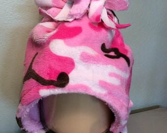 Girl camo minky winter hat - double layer - multiple sizes available