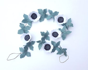 White anemone greenery garland, felt flower garland, white garland, wedding garland, floral garland, flower backdrop, mantel garland,