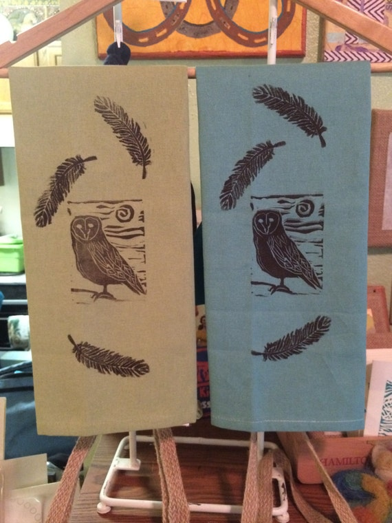 Owl and Feather Kitchen Towels