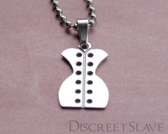 Stainless steel corset pendant. For masters, slaves and anybody into Corset subculture. BDSM. Stainless steel collection