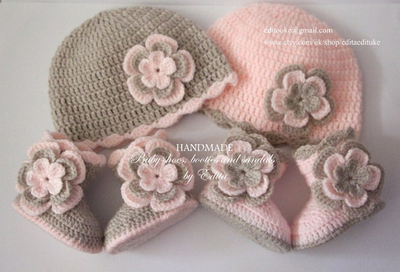 Crochet Hat Patterns For Twin Babies : Crochet baby set for twins baby girl hat beanie shoes
