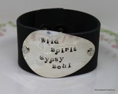 Spoon and Leather Cuff Bracelet w/ Hand Stamped Spoon - SILVERWARE Bracelet Hand Stamped Bracelet