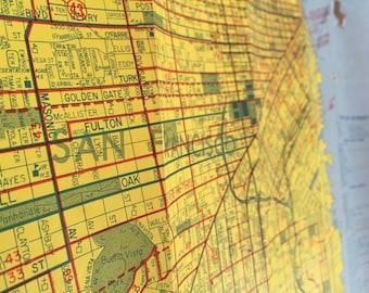 San Francisco Map Poster - 1980's vintage