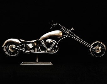 Custom Chopper, Motorcycle, Metal Sculpture