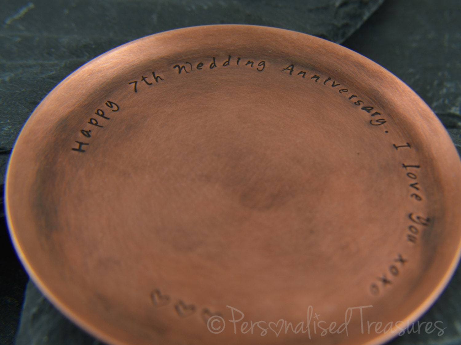 Gifts For 7th Wedding Anniversary: Personalized Copper Coaster Gift For 7th By