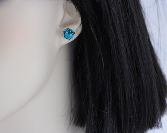 Stud Earrings Silver Teal Turquoise Post Earring Studs Clip On Available Silver Flower Girl Gift Bridal Party Gift Swarovski Crystal Earring