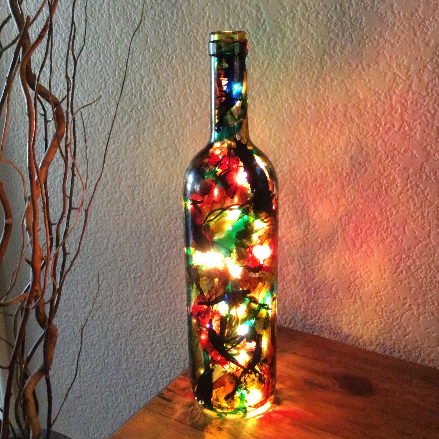 Wine bottle light alcohol ink paint wine bottle by for Painting while drinking wine