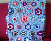 Blue Crochet Blanket, Colourful Crochet Afgan Blanket, Handmade blanket, Granny Square blanket