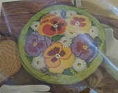 "Vintage Bucilla ""Pansy Patch"" Decorator Pillow Kit Embroidery Stitchery Needlecraft 14in Round Original Packaging Unopened No. 8364"