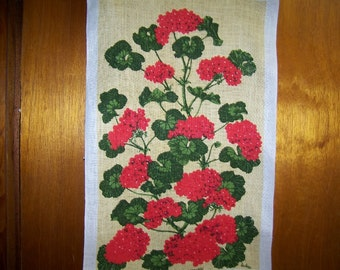 Vintage Linen Towel Red Geraniums Signed Lois Long Tea Towel