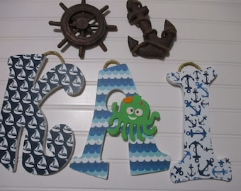 """KAI - 11.00 PER LETTER 8-1/2"""" wooden nursery letters, navy blue, white, nautical theme, octopus, sail boats, anchors"""