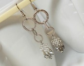 Silver Celtic Link Long Drop Dangle Earring With Silver Iris Stepfold Glass Bead Dangle Accent