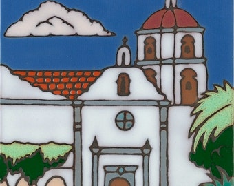 Ceramic tile, Mission San Luis Rey , hot plate, wall decor, installation, backsplash, kitchen tile, hand painted, hand crafted, art tile