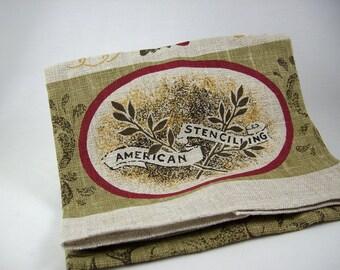 Vintage Linen Tea Towel by Kay Dee for Bonheur 1950s