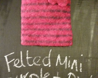 Mini pink and purple felted bag