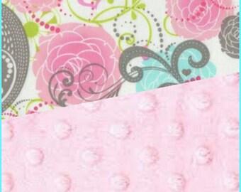 Minky Blanket Cotton Paisley Minky backing 19 colors Carseat Blanket Crib Blanket Minky Blanket