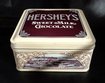 Hershey's candy tin, vintage collectible limited edition Hershey's milk chocolate brown tin canister, 90s