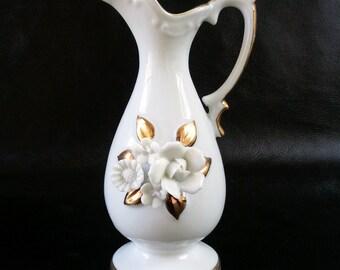 White porcelain vase, vintage small white and gold floral pitcher vase, 50s wedding decor, gift for her