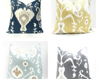 PILLOW, Decorative Pillow, Navy Pillow Cover, Ikat Pillow, Gray Pillow, Yellow Pillow, Tan Pillow, Ikat Pillow Cover, Throw Pillow, Grey