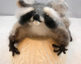 Needlefelted Rambo the Raccoon