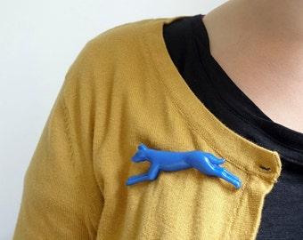 Dog Brooch - Blue Vintage Plastic Novelty Brooch Pin