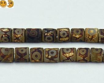Sale---13.5 inch strand of Tibetan Agate dZi three eyes pattern matte drum beads 14x14-16mm  No.3
