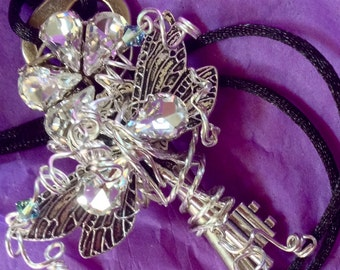 Skeleton Key Necklace Silver Fairy Necklace Dragonfly Necklace