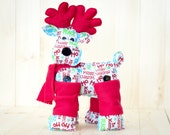 Christmas Decorations Reindeer - Merry Christmas Seasons Greetings stuffed Reindeer - XMAS Gift - Gift for Mom - Gift Ideas for Women