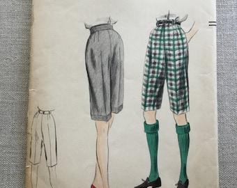 Vogue pattern 7804 c1952, Women's bermuda shorts, walking or golf shorts