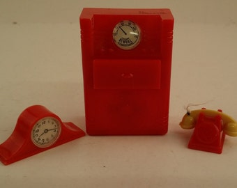 Vintage Plastic Dollhouse Furniture / Accessories -- Renwal Midcentury Radio / Record Player Cabinet, Phone and Clock -- Red and Yellow
