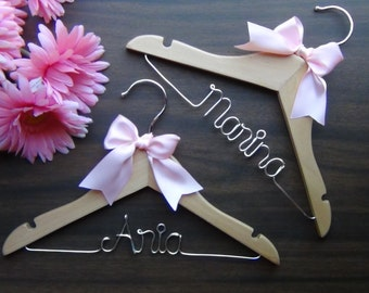 2 CHILDRENS Personalized HANGERS, Custom Baby Shower Gift Hangers, Christening, Flower Girl Wedding Hanger with Name, Kid Clothes Hanger