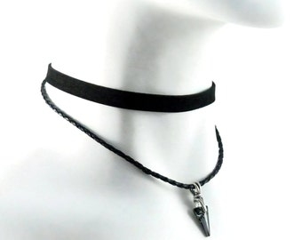 Layered Choker Necklace made of Faux Suede and Faux leather cord with Swarovski Spike Pendant